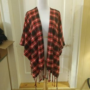 RD Style Plaid Open Fringed Poncho